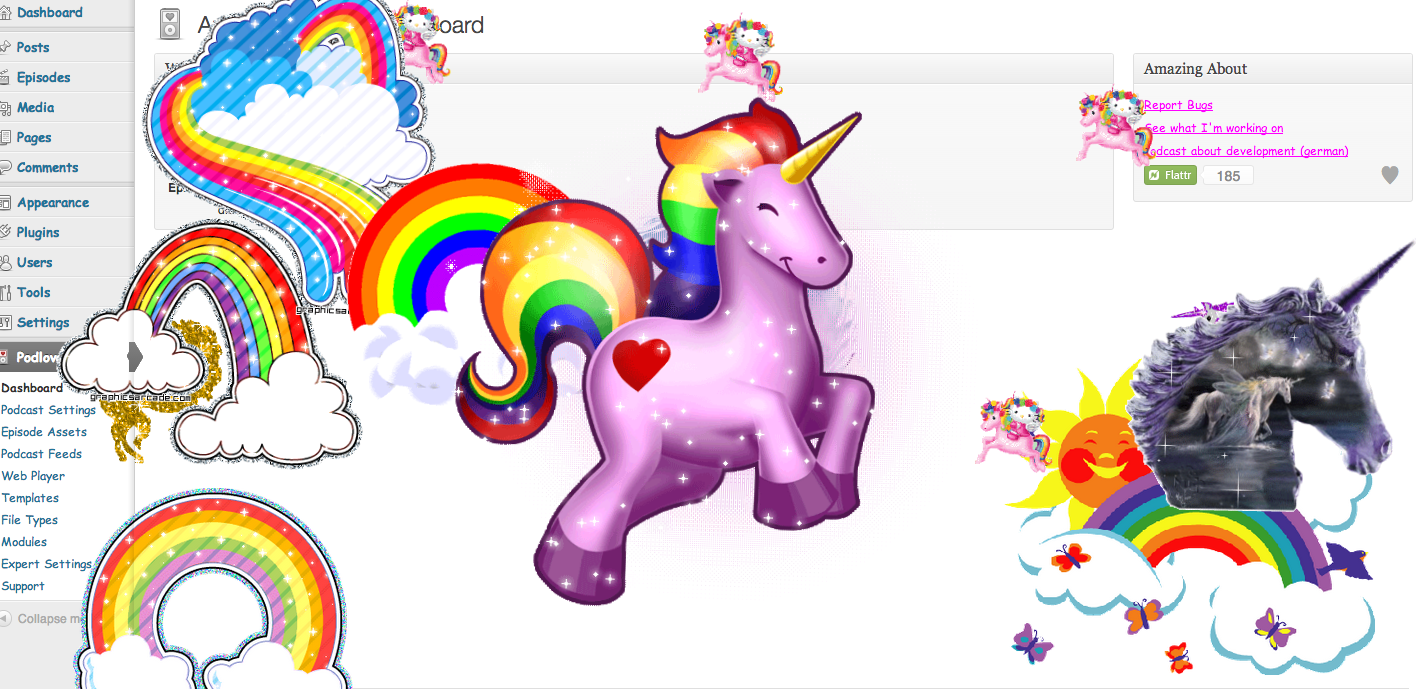 podlove_publisher_easter_egg_unicorn_rainbow