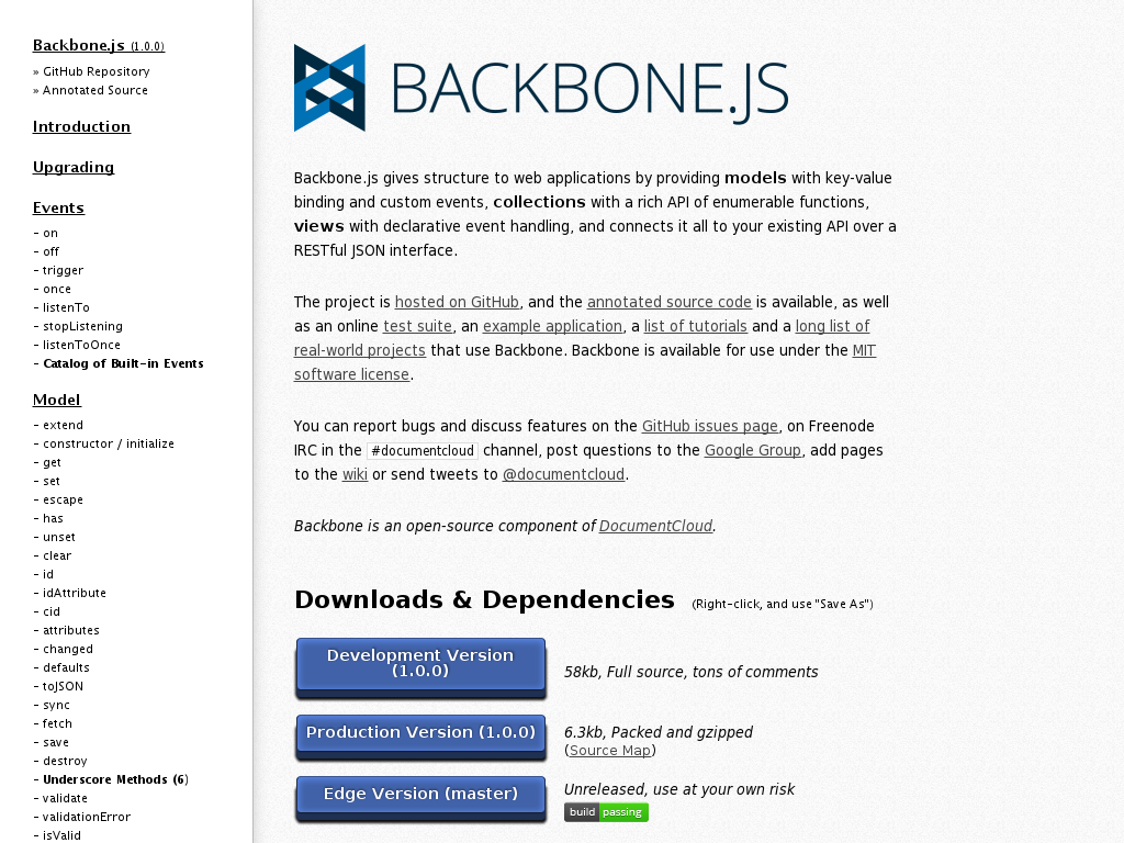 backbone.js based javascript application library