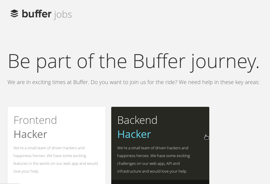 Buffer Jobs, hiring page done right!