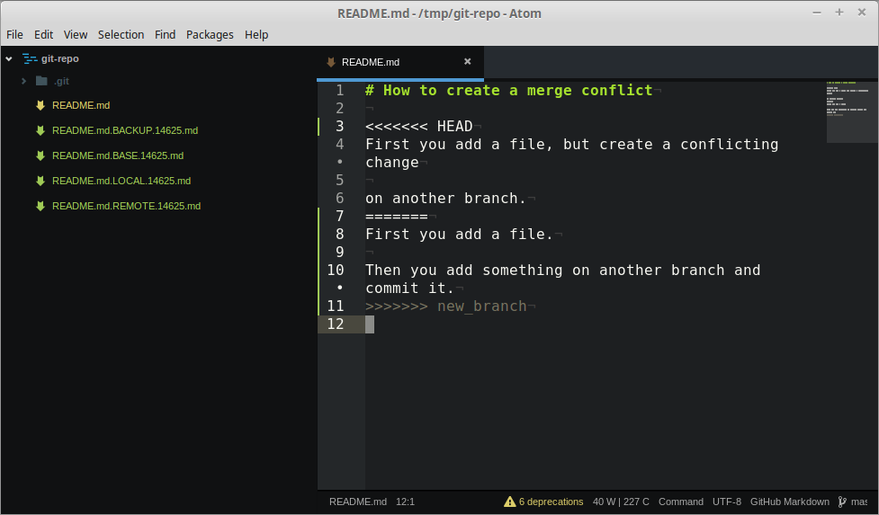 How to: Create a git Merge Conflict