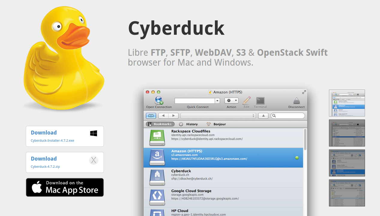 Cyberduck: Another best/great FTP/SFTP client