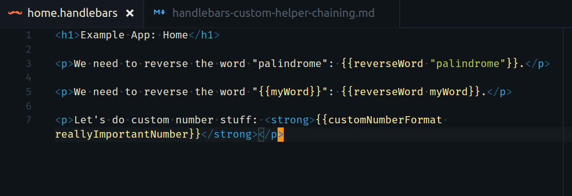 Handlebars Custom Helpers and Chaining